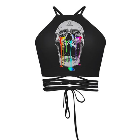 Skull in Awe Crop Tops
