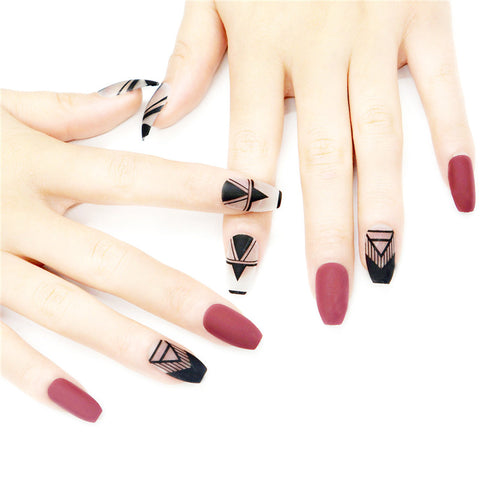 24PCS Sector-Print False Nails Set