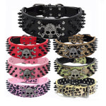 Skull Leather Dog Collar