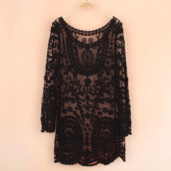Floral Laced Bell Sleeve Dress  -  dress - Skull Sector