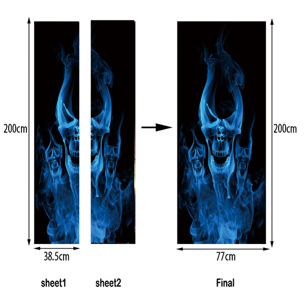 3D Flame Skull Waterproof Stickers