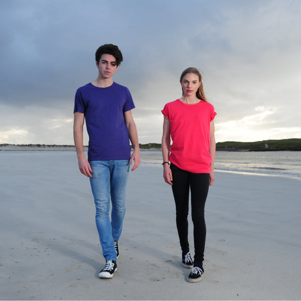 Prairie | P001U | Unisex | Men's Fairtrade Organic Styled Cut T-shirt | Purple & Teaberry | Couple | Women