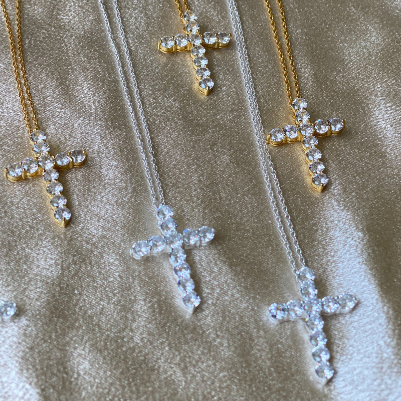 Diamond CZ Cross Necklace