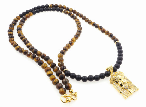 "Gold ""Buddha"" Namaste Pendant and Black Onyx Necklace"