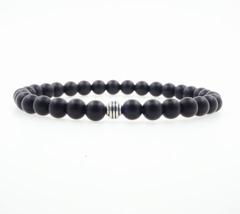 Duane 8mm Hematite Lava Beaded Bracelet