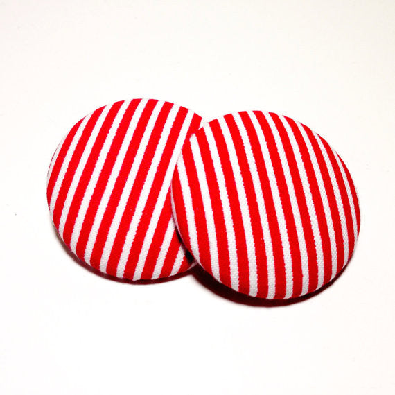 Red Pin Stripe Print Button Earrings