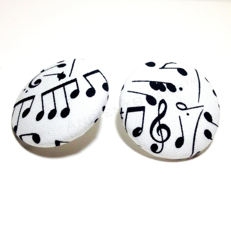 White and Black Music Note Print Button Earrings