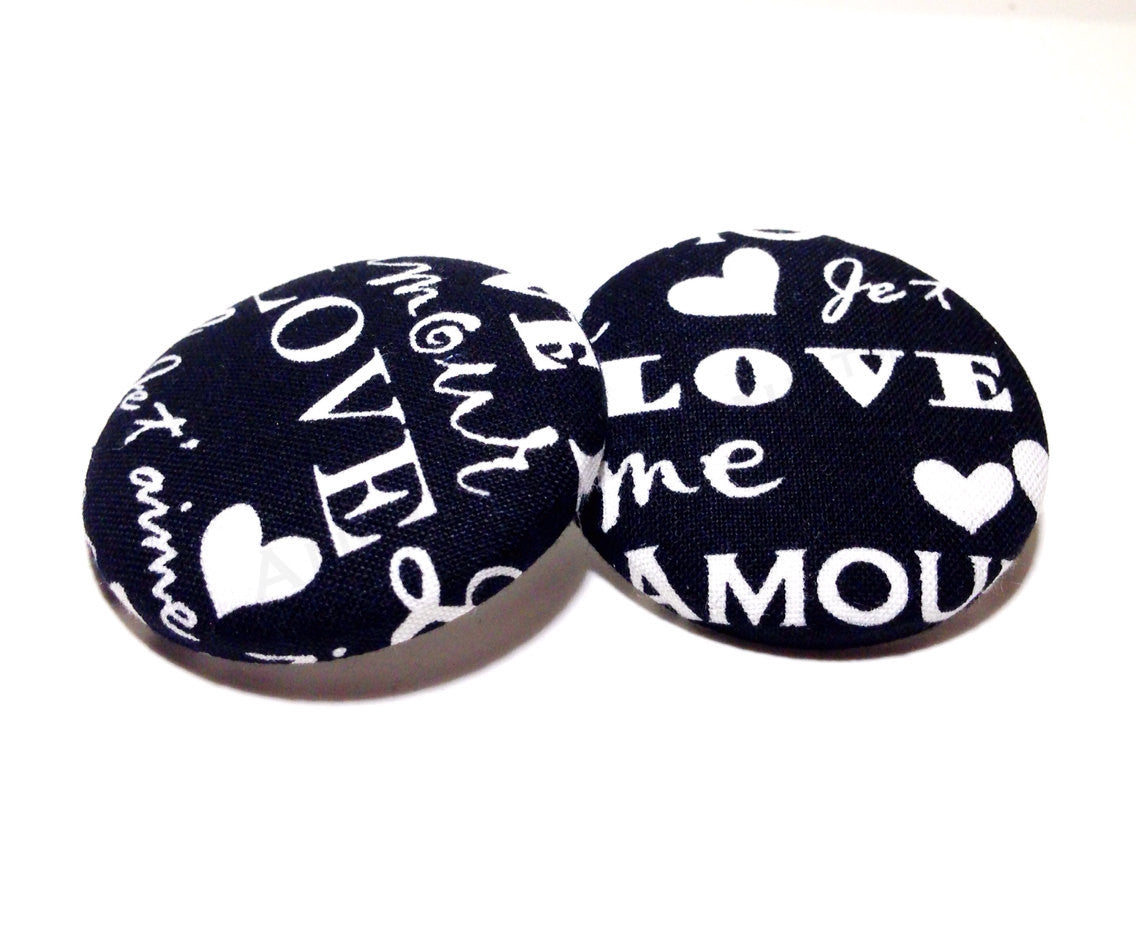 Bold Amour Print Button Earrings