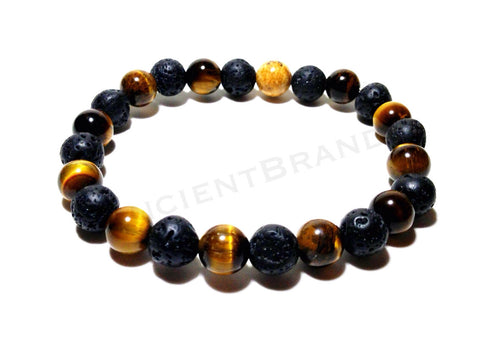 "8mm ""Hunter"" Natural Green Pietersite  & 14KT Gold Plated Space Bead Bracelet"