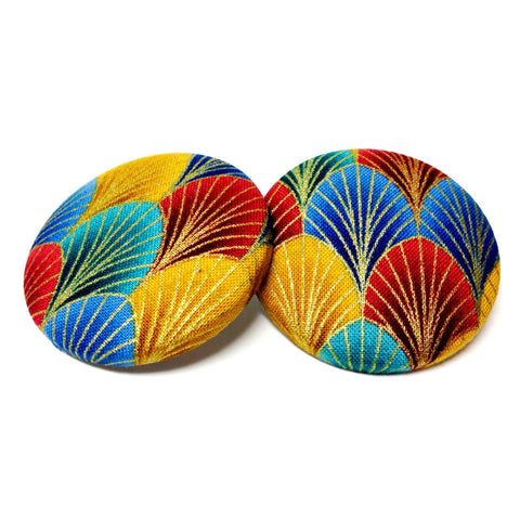 African Mountains Print Button Earrings