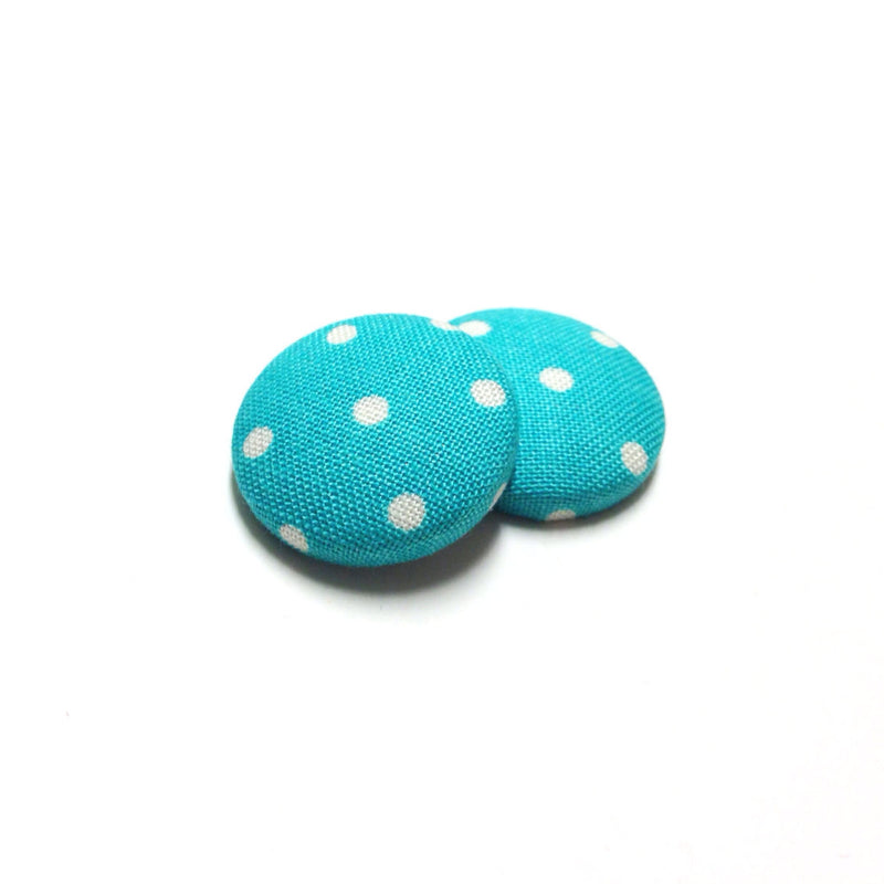 Turquoise Polka Dot Print Button Earrings