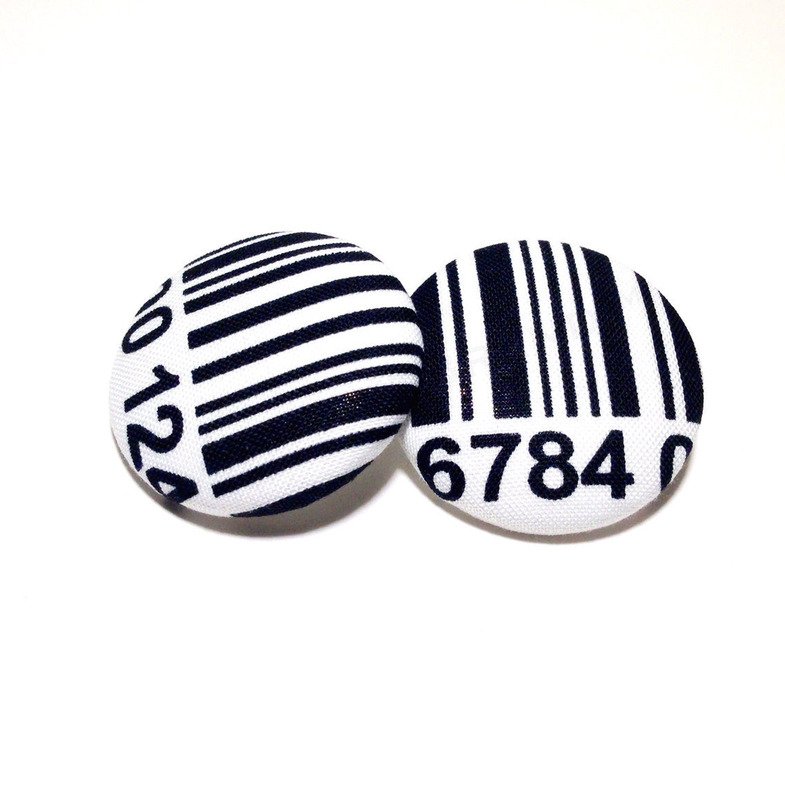 Barcode Print Button Earrings