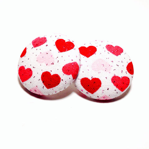 Breast Cancer Awareness Pink Ribbon and Heart Print Button Earrings