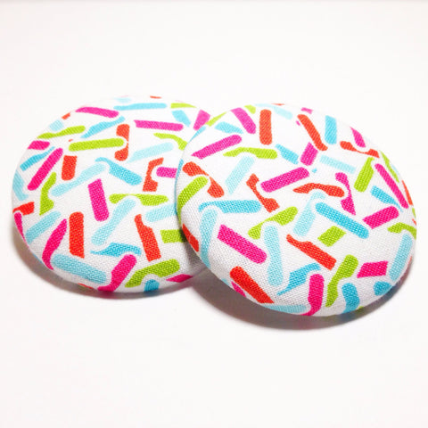 Blurred Lines Print Button Earrings