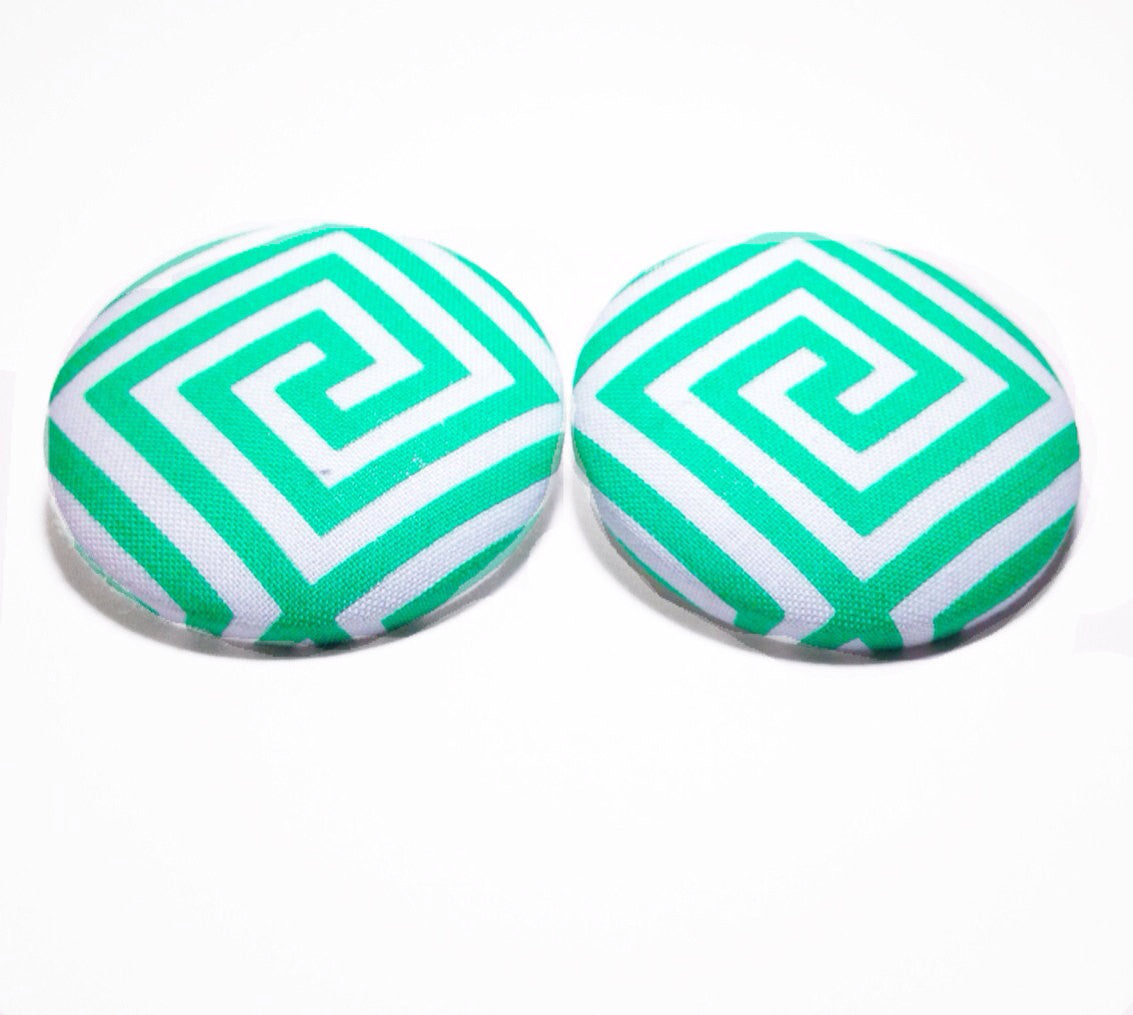 Turquoise Maize Print Button Earrings
