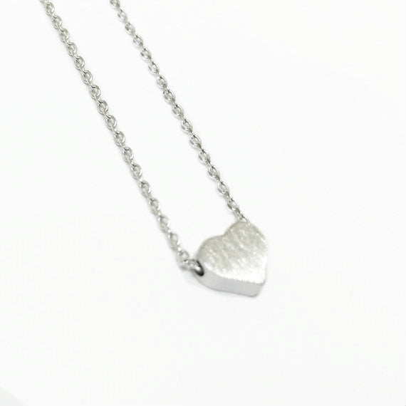 "Tiny Silver ""Heart Me"" Necklace - Dainty, Simple, Birthday Gift, Wedding Bridesmaid Gift"