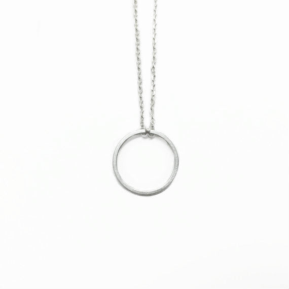 "Tiny Silver ""Eternity Circle"" Ring Necklace Karma Infinity"