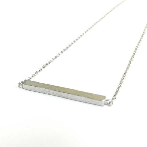 Tiny Silver Slim Long Bar Necklace - Dainty, Simple, Birthday Gift, Wedding Bridesmaid Gift