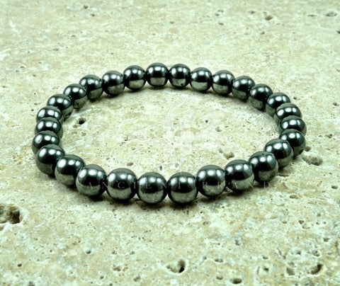 "Men's ""Heru"" 10mm Lava Onyx Howlite Beaded Bracelet"