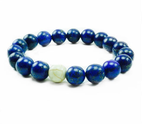 "8mm Men's ""Leo"" White Mother Of Pearl Beaded Bracelet"