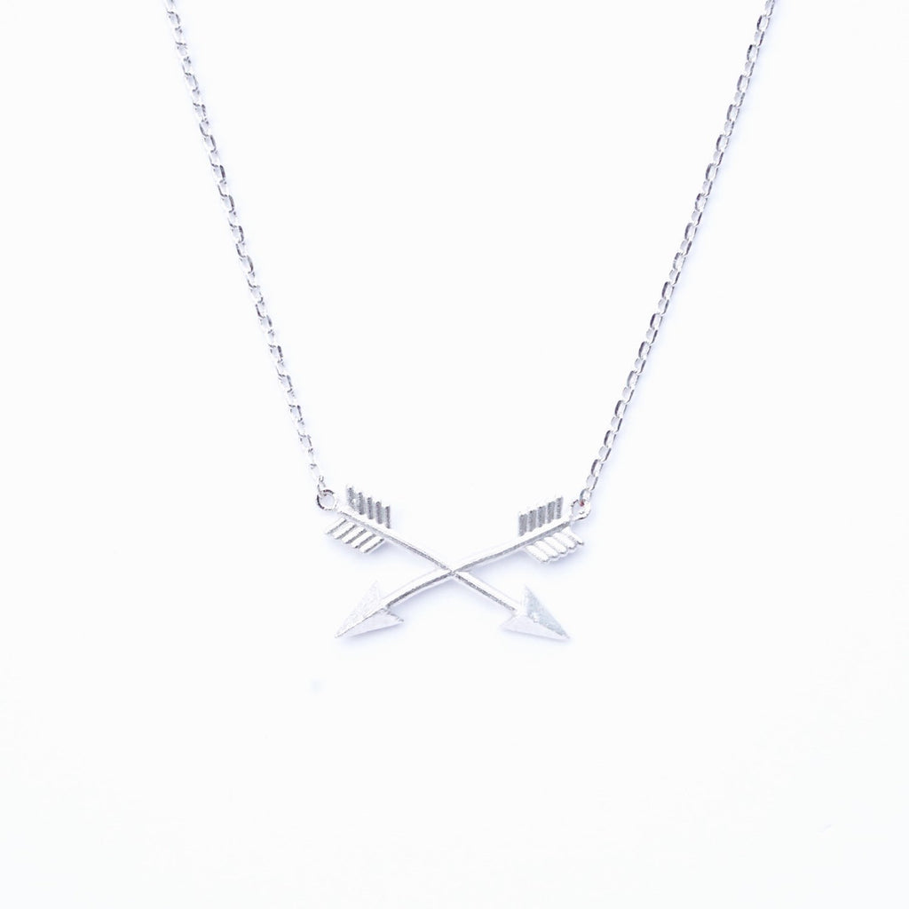 Tiny Silver Arrow Cross Necklace - Tiny Sideways Arrow Necklace