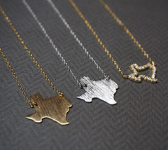 "Tiny Gold or Silver ""Texas"" State Necklace - Dainty, Simple, Birthday Gift, Wedding Bridesmaid Gift"