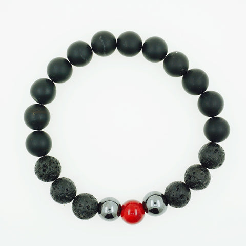 "8mm Men's ""Gabe"" Garnet Beaded Bracelet"
