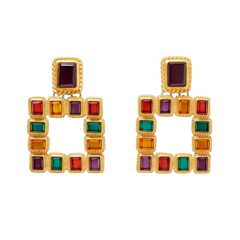 Maia Gold Rectangle Drop Earrings