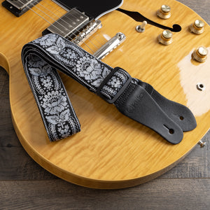 Vintage Woven Guitar Strap for Acoustic & Electric Guitars + 2 Free Rubber Strap Locks, 2 Free Guitar Picks & 1 Free Lace | '60s Jacquard Weave Hootenanny Style | Black & Silver
