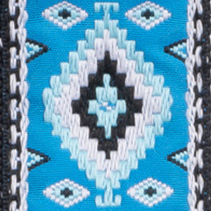 Vintage Woven Guitar Strap for Acoustic & Electric Guitars + 2 Free Rubber Strap Locks, 2 Free Guitar Picks & 1 Free Lace | '60s Jacquard Weave Hootenanny Style | Custom Navajo Pattern | Dine Sky & Turquoise