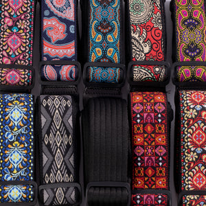 Vintage Woven Guitar Strap for Acoustic and Electric Guitars with 2 Rubber Strap Locks, 2 Picks and 1 Lace, Turquoise & Coffee Paisley