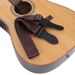 Vintage Woven Guitar Strap for Acoustic and Electric Guitars | 2 Rubber Strap Locks Included, BROWN