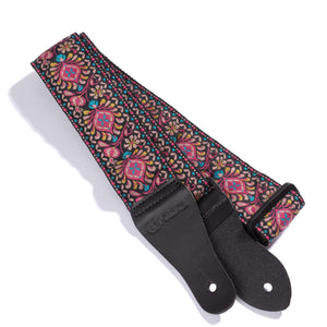 Vintage Woven Guitar Strap for Acoustic and Electric Guitars with 2 Rubber Strap Locks, Palooza Pink