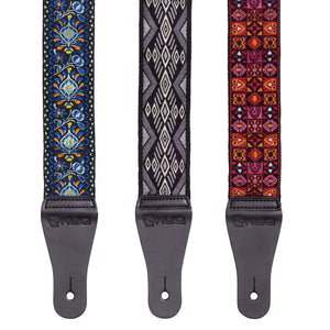 Vintage Woven Guitar Strap for Acoustic and Electric Guitars with 2 Rubber Strap Locks, Woodstock Red