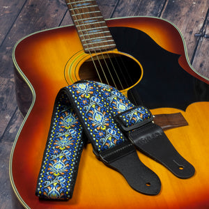 Vintage Woven Guitar Strap for Acoustic and Electric Guitars with 2 Rubber Strap Locks, Hendrix Blue