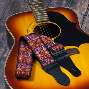 Vintage Woven Guitar Strap for Acoustic and Electric Guitars (2 Rubber Strap Locks, Woodstock Red)
