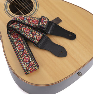 Nelson Red Vintage Woven Guitar Strap for Acoustic and Electric Guitars (with 2 Rubber Strap Locks)