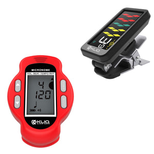 Bundle - KLIQ ProTuner - Professional Clip-On Tuner for All Instruments (with flat tuning) and KLIQ MicroNome - USB Rechargeable Digital Clip-On Metronome, (Red)