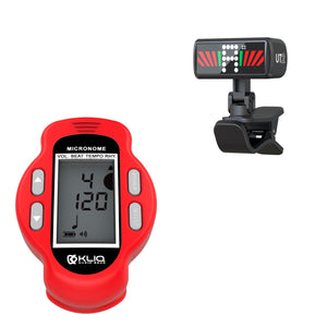 Bundle - KLIQ Ultra-TinyTuner (UT2), Micro Clip-On Tuner and KLIQ MicroNome - USB Rechargeable Digital Clip-On Metronome, (Red)