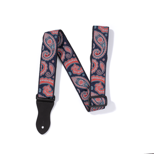 Vintage Woven Guitar Strap for Acoustic and Electric Guitars with 2 Rubber Strap Locks, Blue & Red Paisley