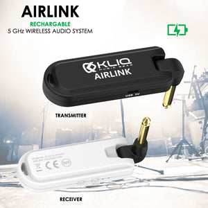 Airlink 5.8 GHz Rechargeable Wireless Audio System designed for Electric Guitar, Bass and other Electric Instruments-Digital Transmitter/Receiver Set