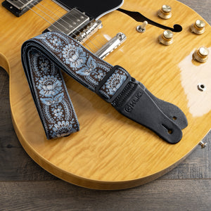 Vintage Woven Guitar Strap for Acoustic & Electric Guitars + 2 Free Rubber Strap Locks, 2 Free Guitar Picks & 1 Free Lace | '60s Jacquard Weave Hootenanny Style | Coffee & Blue Sunburst Flower