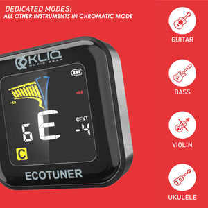 Bundle - KLIQ EcoTuner - USB Rechargeable Clip-On Tuner (with included charging cableand KLIQ MicroNome – USB Rechargeable Digital Clip-on Metronome, (Blue)