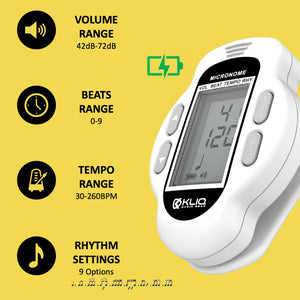 Bundle - KLIQ ProTuner - Professional Clip-On Tuner for All Instruments (with flat tuning) and KLIQ MicroNome - USB Rechargeable Digital Clip-On Metronome, (White)