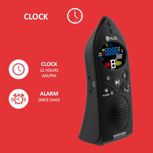 MetroTuner+, Metronome Tuner for All Instruments - with Chromatic Tuning Mode - Clock/Alarm - USB Rechargeable, Black