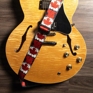 Vintage Woven Guitar Strap for Acoustic and Electric Guitars with 2 Rubber Strap Locks, Maple Leaf Flag