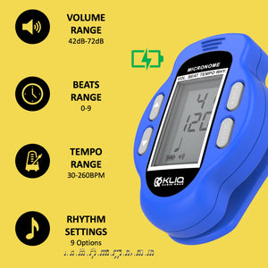 Bundle - KLIQ ProTuner - Professional Clip-On Tuner for All Instruments (with flat tuning) and KLIQ MicroNome - USB Rechargeable Digital Clip-On Metronome, (Blue)