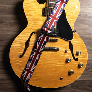 Vintage Woven Guitar Strap for Acoustic and Electric Guitars with 2 Rubber Strap Locks, Union Jack