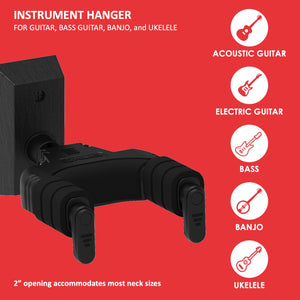 Forte Wall-Mount Instrument Hanger, BLACK
