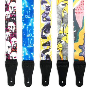 "Artist Series Guitar Strap for Acoustic and Electric Guitars with 2 Rubber Strap Locks, ""Is It Raining"" by KLA"
